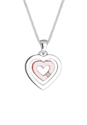 Diamore Women Necklace 925 Sterling Silver Bi-Colour Heart Diamond of Length 45 cm