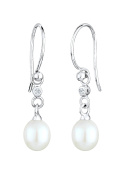 DIAMORE Women Earrings Pearl Dangle & Drop 925 Sterling Silver Diamond White 0.04ct 310920213