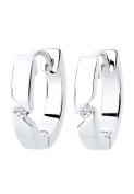 DIAMORE Women's Earrings Crystal Hoop 925 Sterling Silver Diamond White 0.04ct