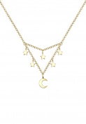 Elli Women Crescent Star Astro 925 Silver Gold Plated Necklace of Length 45cm 0104121217_45