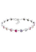 Elli PREMIUM Women Multi-Colour Crystals 925 Sterling Silver Bracelet of Length 16cm 0212821916_16