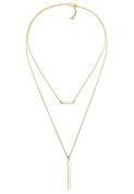 Elli Women Choker Geo Layer 925 Silver Gold Plated Necklace of Length 40cm 0103912317_40