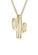 Elli Women Cactus Desert Trend 925 Silver Gold Plated Necklace of Length 45cm 0103691317_45