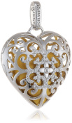Engelsrufer Women's Heart Pendant with Gold Coloured Chime Ball 925 Silver Rhodium-Plated with White Design) 09- Heart Zirconia/L