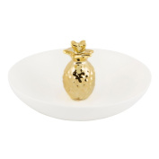 Sass and Belle Ceramic Tropical Pineapple ring holder - Jewellery dish Gold