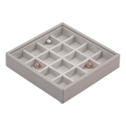 STACKERS Taupe Criss Cross Charm Jewellery Box with Champagne Gold Fitting