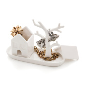 Balvi - Maison ring holder in the shape of a house and a tree. Small jewellery rack. Made in porcelain.