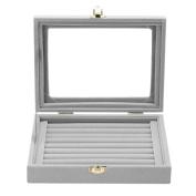 Demiawaking Velvet Glass Cover Rings Earrings Ear Studs Jewellery Display Stand Storage Box Holder Organiser Tray Case