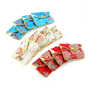 NUOLUX 12pcs Chinese Traditional Brocade Pouch Silk Embroidery Pouch Jewellery Bag
