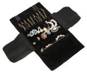 WODISON Luxury Portable Velvet Jewellery Roll up Bag Organiser Case for Travel Black