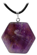 Kaltner Präsente Gift Idea – Leather Chain for Men and Women with Hexagon Pendant Gemstone Amethyst