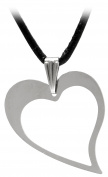Kaltner Präsente Gift Idea – Leather Chain for Men and Women Stainless Steel Heart Pendant 30 x 25 x 1 mm)