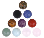 Morella 10 gemstone balls set 16 mm healing stone chakra balls for necklace pendant and for revitalization, coming in a decorative bag