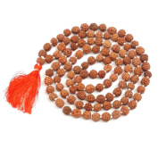 Handmade Rudraksha 108 Knotted Bead Prayer Mala with Red Tassel + Embroidered Drawstring Bag