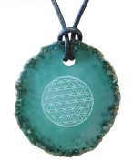 Kaltner Präsente Gift Idea – Leather Chain for Men and Women with Pendant (Diameter 5 cm) with Green Agate Gemstone Laser Printed Flower of Life