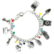 Pretty Little Liars Charm Bracelet - Silver Tone Girly Charms - Gift Box Included