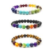 3 Pcs Natural Stone Tiger Eye - Healing Reiki Chakra Charm Bracelet Men Bracelet Women Bracelet