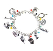Alice In Wonderland Charm Bracelet - Jewellery For Girls With Gift Box