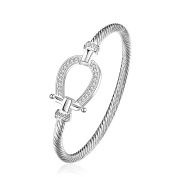lureme® Lucky Horseshoe Bangle Crystal and Silver Western Jewellery Good Luck Charm for Horse Lover Girls Women Teen 06002865