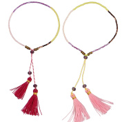 KELITCH 2pcs Seed Beaded Rope String Charm Bracelet with Tassel Pendant - Pink/Red
