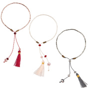 KELITCH 3pcs Seed Beaded Rope String Charm Bracelet with Tassel Pendant - Grey/Pink/Red
