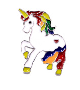 Super Cute Unicorn Pin Brooch - White Gold Plated with Enamel Finish