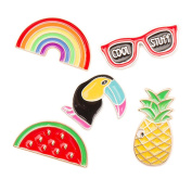 Tinksky Summer Luau Party Brooch Pins Breastpin Jewellery Gift with Rainbow Glasses Bird Watermelon Pineapple Pack 5pcs