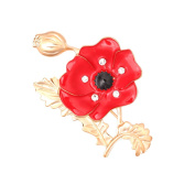 SENFAI Red Crystal Rhinestone Poppy Brooch Pins UK Remembrance Day