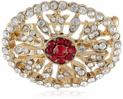 Downton Abbey Boxed Gold-Tone Red Crystal Pave Oval Brooch