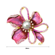 Glamorousky Flower Brooch with Pink Austrian Element Crystal and Brown Fashion Pearl