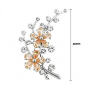 Glamorousky Dazzling Flower Brooch with Silver Austrian Element Crystal and Orange CZ
