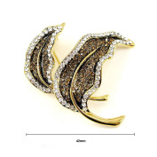 Glamorousky Elegant Leaf Brooch with Yellow and Silver Austrian Element Crystal