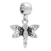 Uniqueen Dragonfly with Crystal Dangle Charms for European Bracelet Necklace