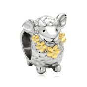 Uniqueen Sheep Animal Charms Beads fit European Charm Bracelet