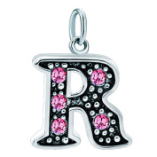 UniqueenJewellery Alphabet Beads A-Z Letter Initial Spacer Dangle Pink Birthstone Crystal Charm For Bracelets or Necklace