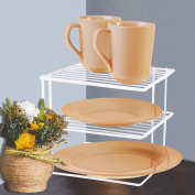 FunkyBuys® Corner 3 Tier White Metal Kitchen Plates Organiser Storage Rack Space Saver Shelf Dryer- 25x26x25 cm-