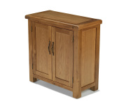 EARLSBURY SOLID CHUNKY WOOD RUSTIC OAK TWO DOOR COMPACT CUPBOARD CABINET