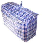 Set of 3 SUPER GIANT JUMBO Laundry/Storage/Transport/DormRoom Checker Shopping Bags with Zipper & Handles, Size=70cm H x 80cm L x 18cm W Colours Vary between Blue/Red/Black/White Cheque Design