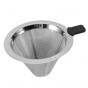Stainless Steel Mesh Pour Over Cone Coffee Dripper Funnel Filter Tea Strainer Silicone Grip Dishwasher Safe
