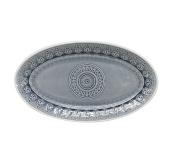 EuroCeramica 86688OG Fez in Grey Oval Platter, Multicolor