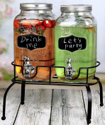 Estilo 3.8l Glass Mason Jar Double Drink Dispenser with Leak Free Spigot On Metal Stand With Embossed Chalkboard and Chalk, Clear