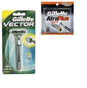 Vector Plus Razor Handle + Atra Plus Refill Razor Blades 10 ct + FREE Schick Slim Twin ST for Dry Skin