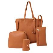 Women Handbag, Hunzed Fashion Tassels Leather Shoulder Bag Tote Ladies Purse +Crossbody Bag+Clutch Wallet+Card Hold