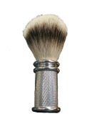 Hand Made Pure Silver Tip Badger Hair Shave Brush with Chrome Metal Handle