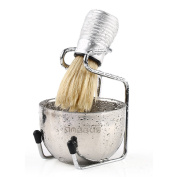 Anbbas Quality Bristle Hair Shave Brush,Stand and Bowl Stainless Steel Grooming Set for Mens