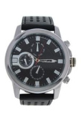 Antoneli Ag0064-02 Silver/black Leather Strap Watch Watch For Men 1 Pc
