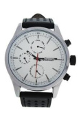 Antoneli Ag0308-01 Silver/black Leather Strap Watch Watch For Men 1 Pc