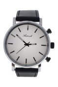 Antoneli Ag6182-02 Silver/black Leather Strap Watch Watch For Unisex 1 Pc