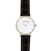Andreas Osten Ao-25 Klassisk - Rose Gold/cocodrile Dark Brown Leather Strap Watch Watch For Women 1 Pc