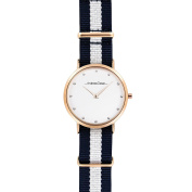 Andreas Osten Ao-19 Somand - Rose Gold/navy Blue-White Nylon Strap Watch Watch For Women 1 Pc